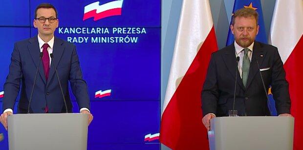 Premier Mateusz Morawiecki i minister zdrowia Łukasz Szumowski / screen YouTube